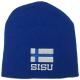 Finland Flag Beanie with Sisu text on Royal