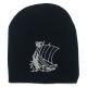 Viking Ship Knit Beanie Black