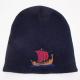 Red/Navy Viking ship knit beanie