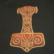 Embroidered Ladies Tshirt on Gold Thor's Hammer - Chocolate Brown