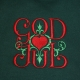 Embroidered Unisex Tshirt- God Jul Scroll- Forest Green