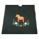 Embroidered Ladies Tshirt -  Dalahorse on Black