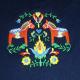 Embroidered Sweatshirt -  Dala horses & Flowers on Navy