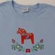 Embroidered Ladies Tshirt -  Dalahorse on Light Blue