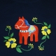 Embroidered Ladies Tshirt -  Dalahorse on Navy