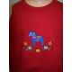 Embroidered Sweatshirt -  Dala horse on Red