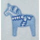 Fleece Baby Blanket - Dala Horse - Light Blue
