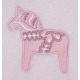 Fleece Baby Blanket - Dala Horse - Pink