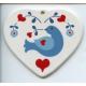 Ceramic Heart Ornament - Blue Bird