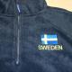 Embroidered Fleece Pullover Jacket- Sweden Flag - Black