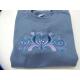 Embroidered Sweatshirt - Rosemaling Hearts on Indigo