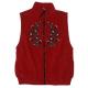 Embroidered Fleece Vest - Red & Blue Floral Design on Red