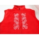 Embroidered Fleece Vest - White Snowflakes on Red