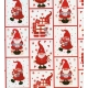 "Gift Wrap Red Gnomes on White 23""x72"""
