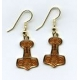 Thor's Hammer Earrings - Brown & Gold