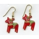 Red Dala Horse Earrings