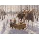 """Jan Bergerlind - Winter Moose doormat 18"""" x 24"""""""