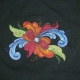 Embroidered Ladies Tshirt -  Rosemaling - Black