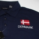 Embroidered Polo- Denmark Flag on Navy