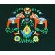 Embroidered Sweatshirt -  Dala horses & Flowers on Green