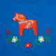 Embroidered Sweatshirt -  Dala horse on Royal Blue