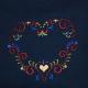 Embroidered Sweatshirt- Folk Art Heart on Navy Blue