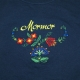 Embroidered Ladies Tshirt on Mormor with Flowers - Navy
