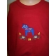 Embroidered Sweatshirt -  Dala horse on Red