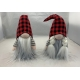 Gnome Tomte  Couple with Buffalo Plaid  Hat