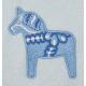 Fleece Baby Blanket - Dala Horse - Light Blue