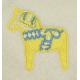 Fleece Baby Blanket - Dala Horse - Yellow