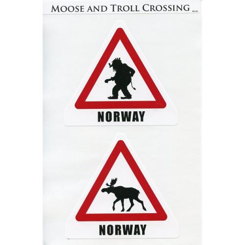 decals norway troll moose crossing signs