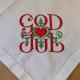Large Square Napkin - God Jul Scroll - White