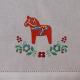 Runner - Dala horse & Flowers on White