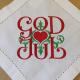 Small Square - God Jul Scroll - White